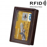 Genuine Cowhide Leather Solid Color Card Holder Wallet RFID Blocking Coin Purse Card Bag Protect Case with 5 Card Slots & Photo