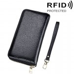 Genuine Cowhide Leather Litchi Texture Zipper Long Style Card Holder Wallet RFID Blocking Coin Purse Card Bag Protect Case with